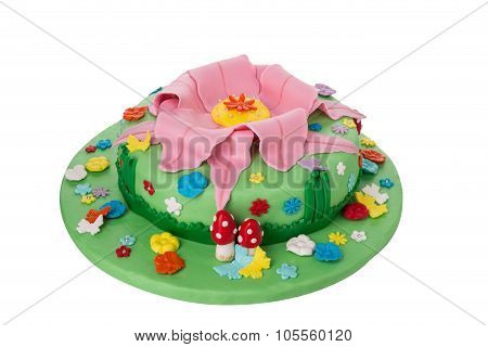 Delicious And Creative Birthday Cake. For Children. Theme Nature Plants.