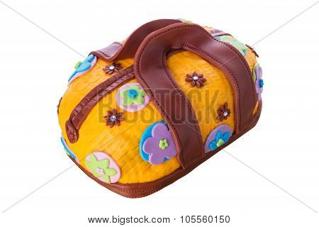 A Unique Gift For A Birthday Cake In The Form Of Fashionable Handbag. Beautiful And Delicious.