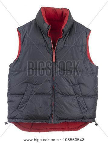 Blue men's down vest isolated on white background.