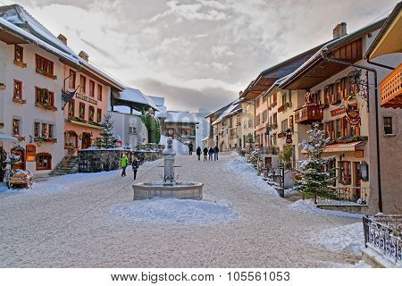 Winter View Of The Market Place In The Center Of Gruyeres