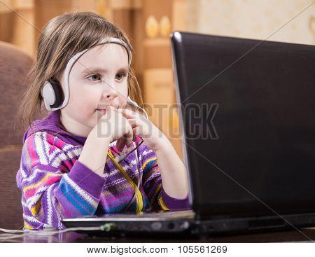 Girl Using Laptop.