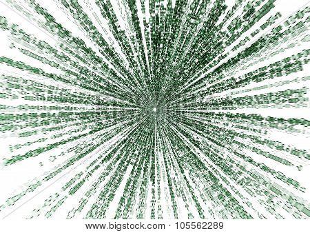 Starburst Matrix Code On White Background, With Speed Motion Blur