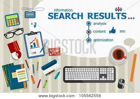 Search Results And Flat Design Illustration Concepts For Business Analysis, Planning