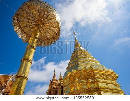 Wat phra That Doi Suthep in sunny day. Thailand