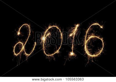 Happy New Year 2016. Inscription Sparklers On Dark Background.
