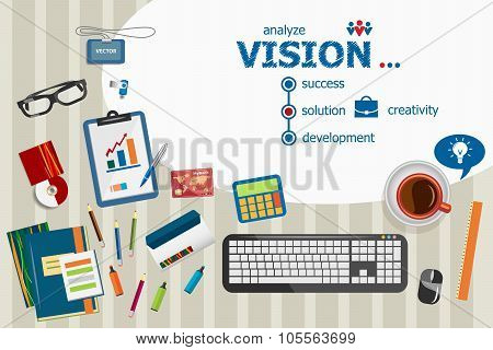 Vision And Flat Design Illustration Concepts For Business Analysis