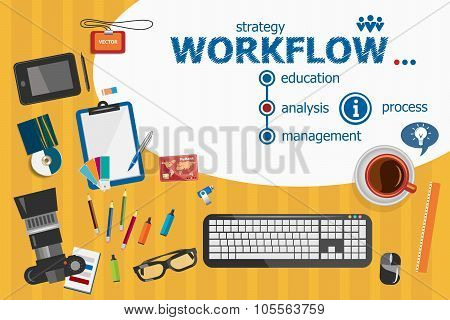 Workflow Design And Flat Design Illustration Concepts For Business Analysis