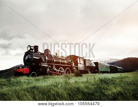 Steam Train In A Open Countryside Natural Scene Concept