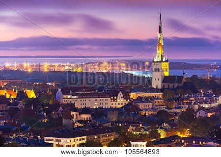 Aerial view old town at sunset, Tallinn, Estonia