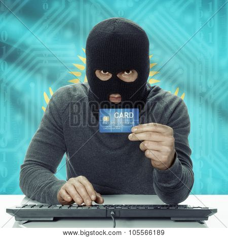 Dark-skinned Hacker With Flag On Background Holding Credit Card - Kazakhstan