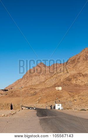 Checkpoint On The Road. Landscape In The Sinai, Egypt