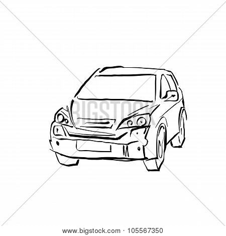 Black And White Hand Drawn Car On White Background, Hatchback.