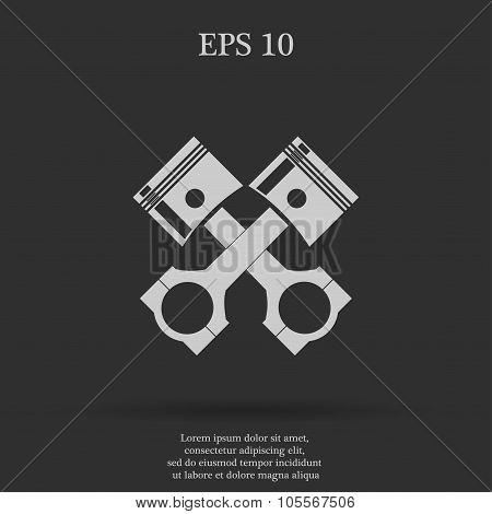 Piston Icon  Flat Design Style