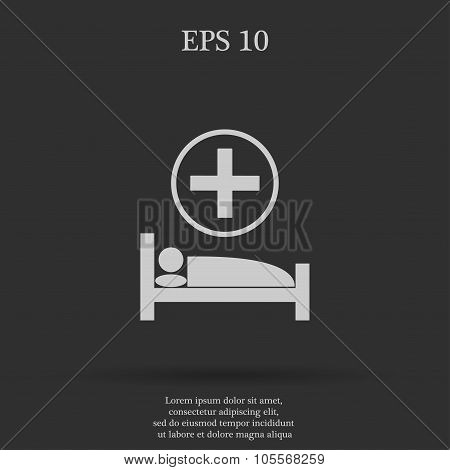 Hospital Bed  Flat Design Style