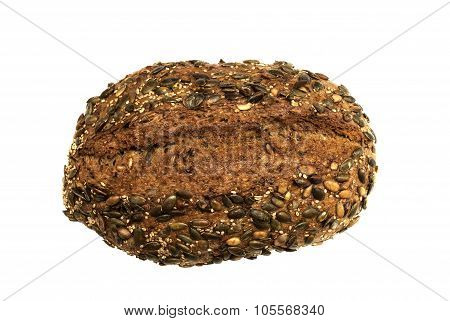 Wholesome loaf of rye bread with seeds