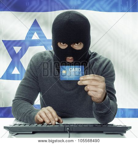 Dark-skinned Hacker With Flag On Background Holding Credit Card - Israel