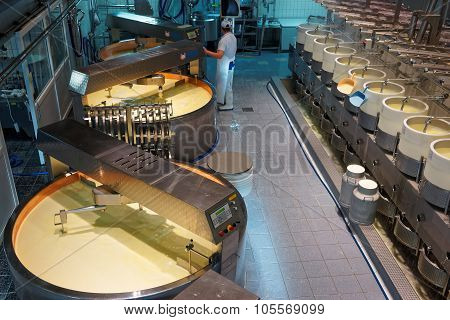 Processing Area Of Gruyere Cheese Factory