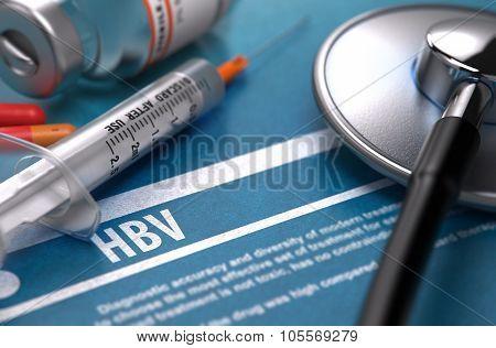 HBV. Medical Concept on Blue Background.