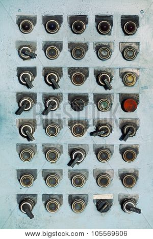 Switches and buttons at an old abandoned factory.