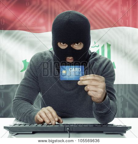 Dark-skinned Hacker With Flag On Background Holding Credit Card - Iraq