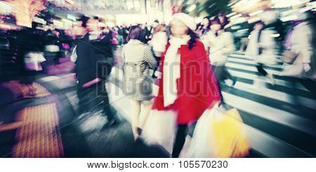 Large Crowd Walking in a City Cross Street Concept