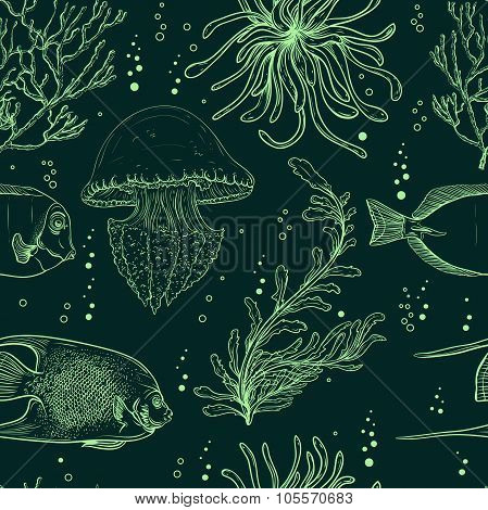 Seamless pattern with tropical fish, jellyfish, marine plants and seaweed. Vintage hand drawn vector