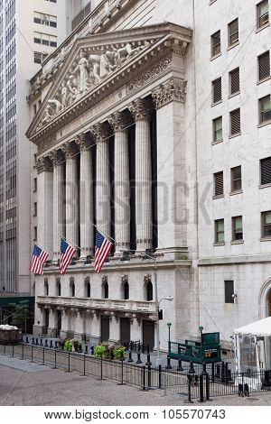 NEW YORK,USA - AUGUST 14,2015 : The New York Stock Exchange in Manhattan Financial District
