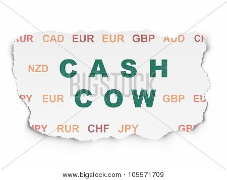 Business concept: Cash Cow on Torn Paper background