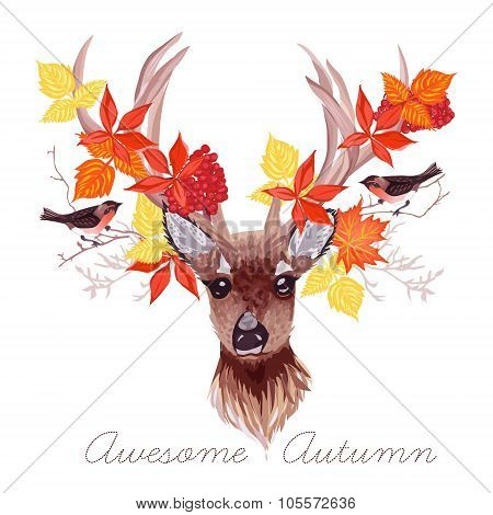 Deer, Autumn Leaves And Bullfinches Vector Design