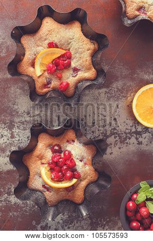 Cranberry and orange tarts