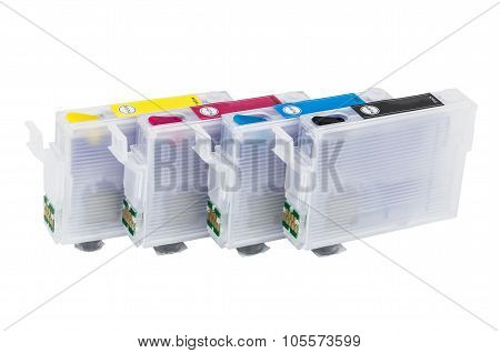 Row Of Empty Refillable cartridges For Colour Inkjet Printer