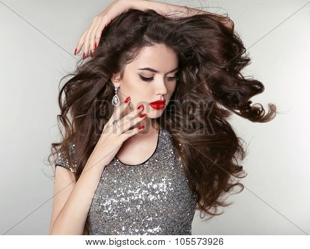 Beauty Makeup. Healthy Long Hair. Beautiful Brunette Girl With Brown Curly Hair, Wavy Hairstyle. Man