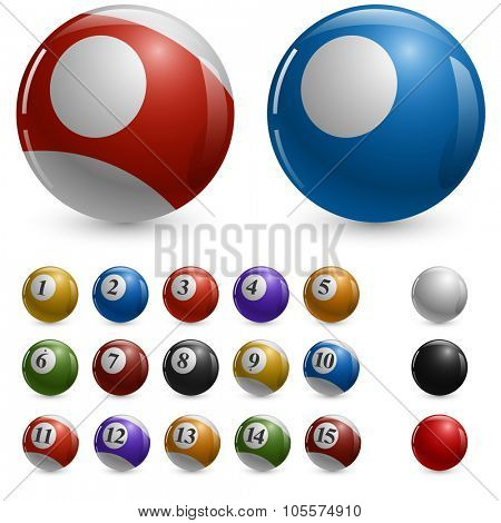 Blank color pool balls vector template with samples.