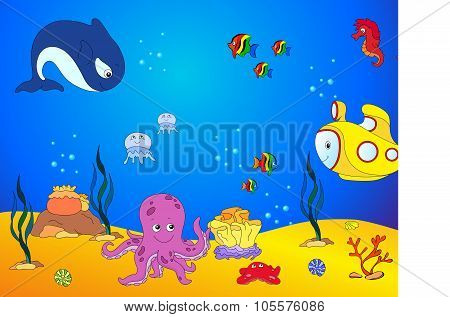 Ocean Inhabitants And Submarine. Octopus, Jellyfish, Starfish, Sea-horse, Reefs And Corals In The Oc