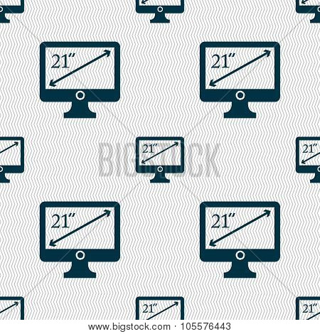 Diagonal Of The Monitor 21 Inches Icon Sign. Seamless Abstract Background With Geometric Shapes.