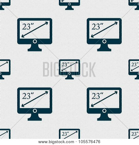 Diagonal Of The Monitor 23 Inches Icon Sign. Seamless Abstract Background With Geometric Shapes.
