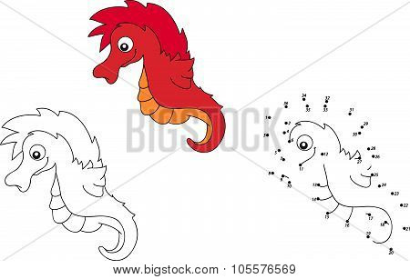 Cartoon Sea Horse. Vector Illustration. Coloring And Dot To Dot Game For Kids