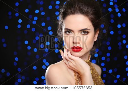 Beautiful Brunette Woman Model With Red Lips, In Elegant Style. Makeup. Fashion Lady Isolated On Hol