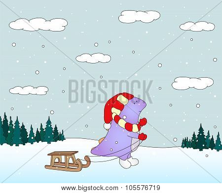 Cute Chubby Dragon With Sled In A Snowy Forest. Christmas Postcard