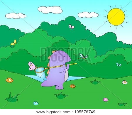 Cute Chubby Dragon Is Playing With Butterfly Net On Blooming Spring Meadow