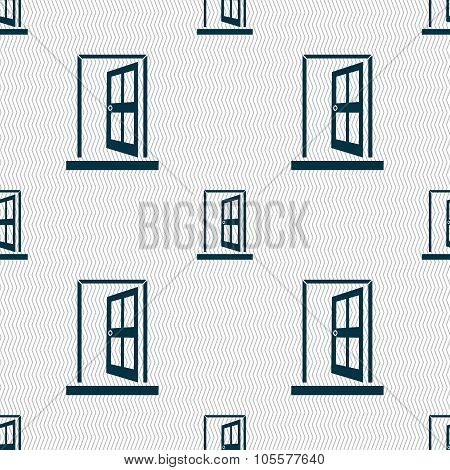 Door, Enter Or Exit Icon Sign. Seamless Abstract Background With Geometric Shapes.