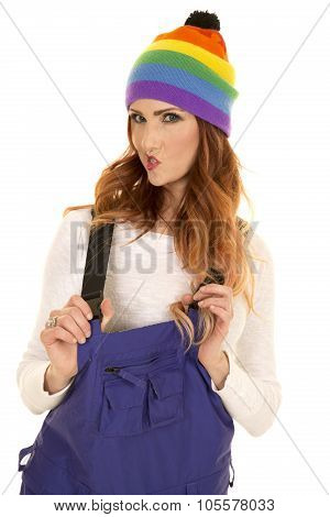 Woman With Red Hair In Coveralls And Hat Funny Face