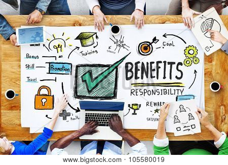 Benefits Gain Profit Income Earning People Meeting Concept