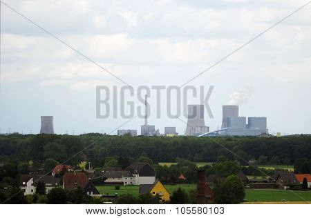 Hamm Cityscape With Factory And Houses