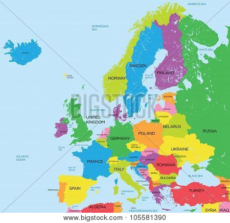 Political map of Europe high detail