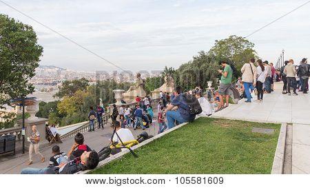 Tourists Admire Barcelona