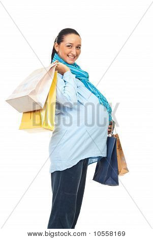 Profile Of Happy Pregnant At Shopping