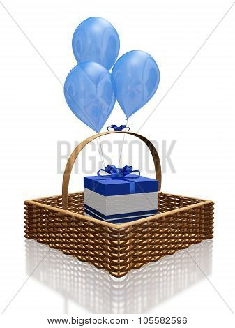 Blue Balloons And Gift In Basket