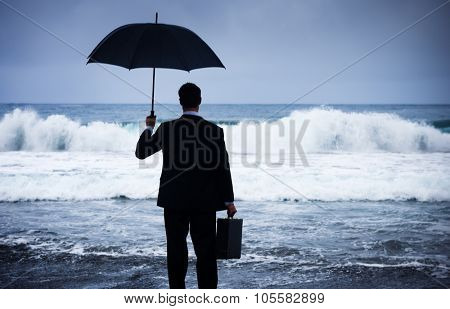 Businessman Facing Storm Encounter Crisis Concept