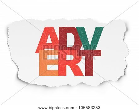 Marketing concept: Advert on Torn Paper background